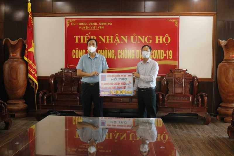 Công đoàn Dầu khí Việt Nam hỗ trợ tuyến đầu chống dịch Covid-19 tỉnh Bắc Giang