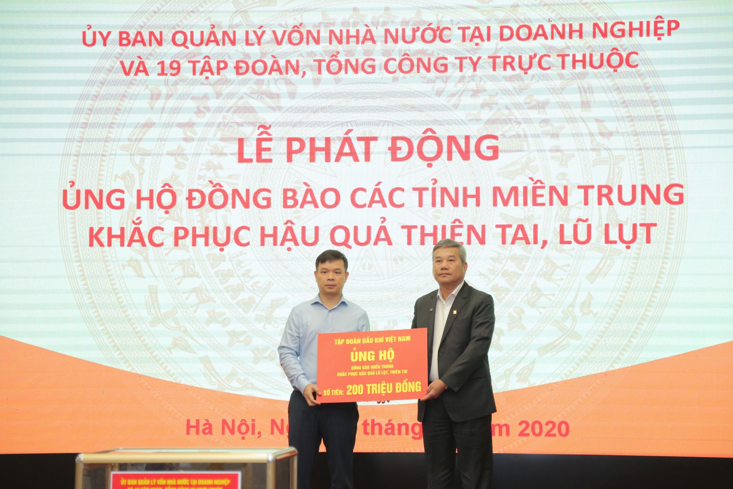 Petrovietnam ủng hộ hơn 10 tỷ đồng hỗ trợ đồng bào miền Trung
