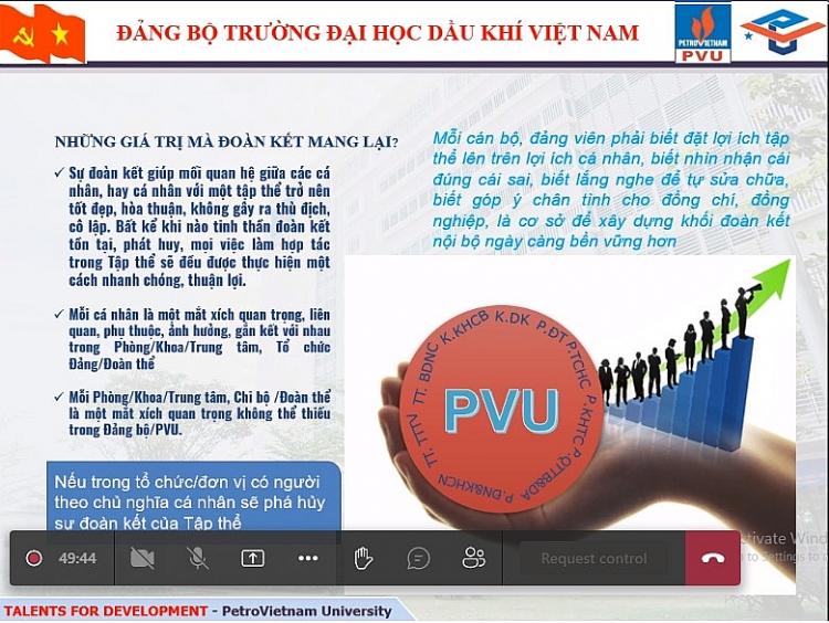 """Đảng bộ PVU phát huy tinh thần Văn hóa Dầu khí, thực hiện phương châm hành động """"Đoàn kết - Kỷ cương - Sáng tạo - Hiệu quả"""""""
