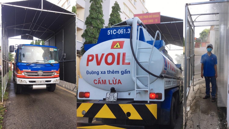 Xe bồn và tài xế được phun khử khuẩn trước khi vào kho xăng dầu nhận hàng