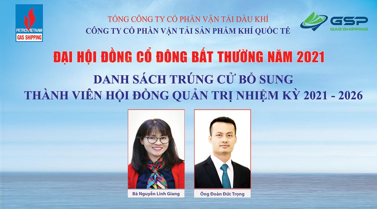 ĐHĐCĐ bất thường năm 2021 Gas Shipping: Bà Nguyễn Linh Giang trở thành tân Chủ tịch HĐQT