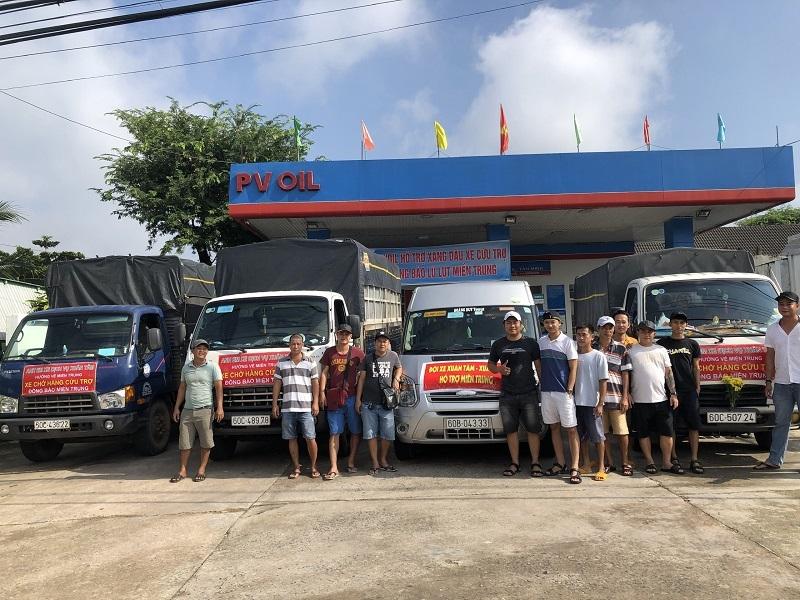 PVOIL hỗ trợ xăng dầu cho xe đi cứu trợ đồng bào miền Trung