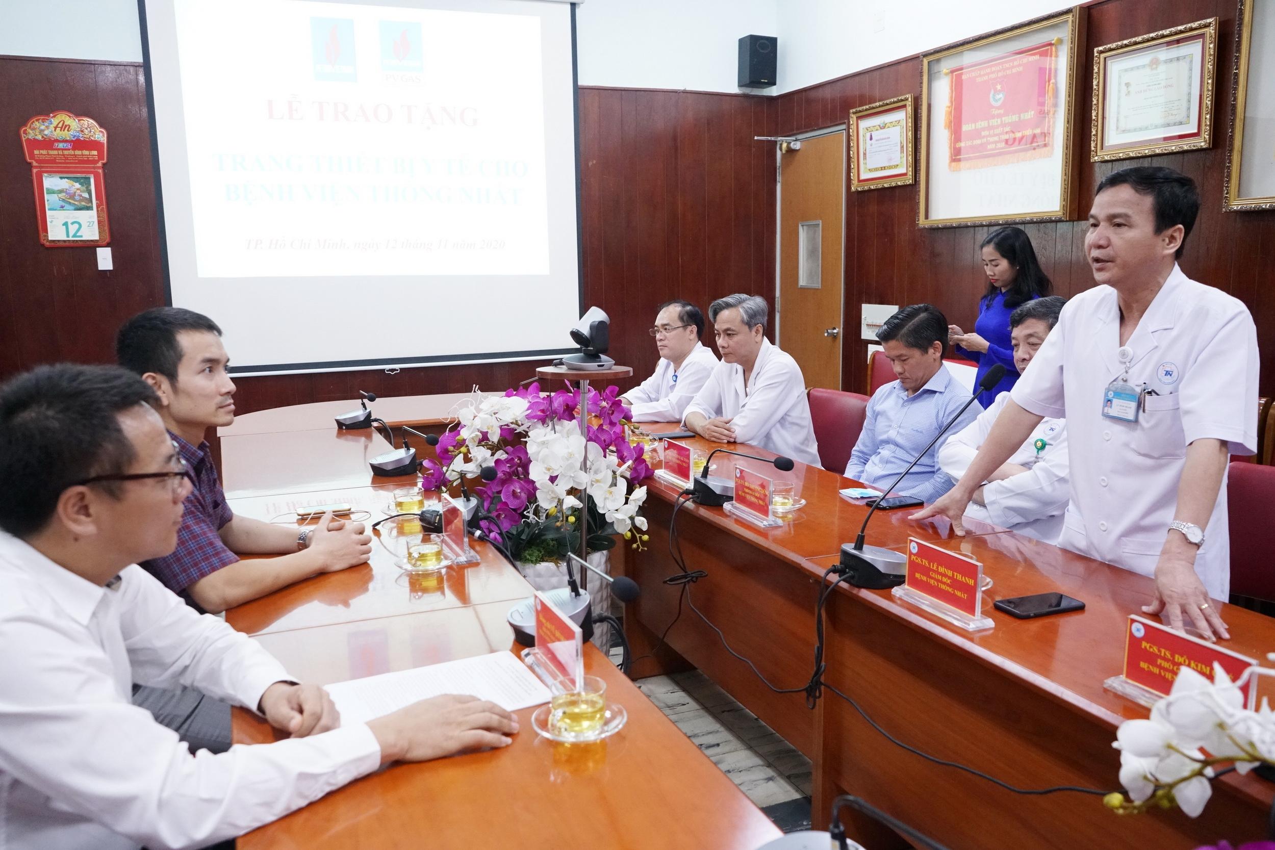 Giám đốc BV Thống Nhất gửi lời cảm ơn đến Ban Lãnh đạo và NLĐ PV GAS vì sự hỗ trợ thiết thực