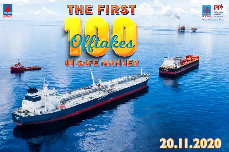 Kho nổi FSO PTSC BIENDONG 01 hoàn thành chuyến xuất bán condensate lần thứ 100 thành công và an toàn lúc 5 giờ sáng ngày 20/11/2020.