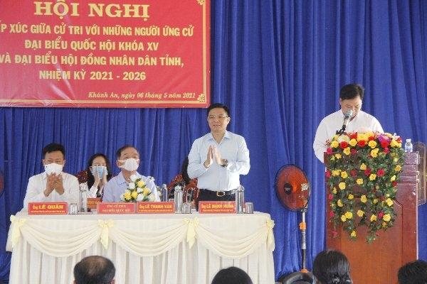 Đồng chí Lê Mạnh Hùng tiếp xúc cử tri tỉnh Cà Mau
